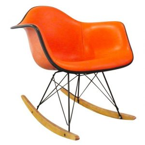 Vintage Orange Eames Shell Rocker as seen at chairish.com and found locally in Seattle at Armadillo Consignment