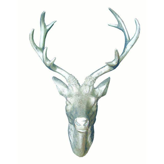 Silver Deer Head Wall Sculpture found at chairish.com