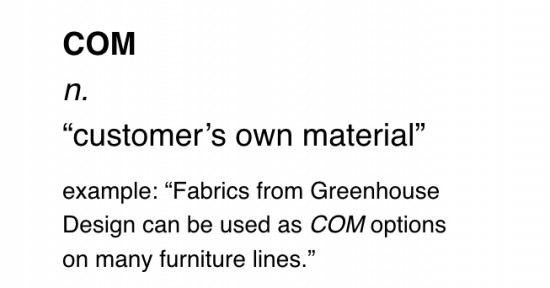 "what does ""com"" mean in interior design"